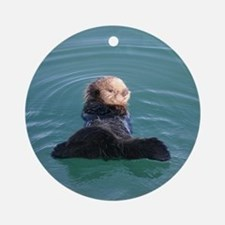 Resting Otter Pup Ornament (Round)