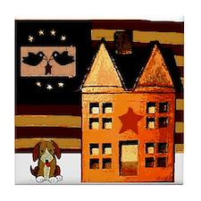 Promitive Art House , Flag ,a Tile Coaster