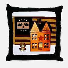 Promitive Art House , Flag ,a Throw Pillow