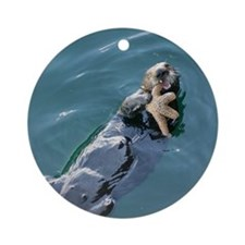 Otter Eating Starfish Ornament (Round)