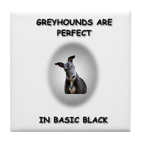 Basic Black Greyhound Tile Coaster