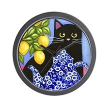 Black CAT Blue Calico Teapot & Lemons Wall Clock