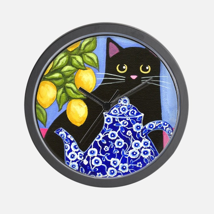 Black CAT Blue Calico Teapot & Lemons Wall Clock
