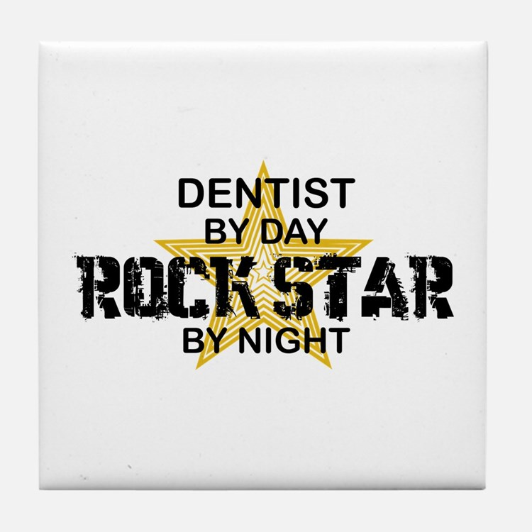 Dentist RockStar by Night Tile Coaster