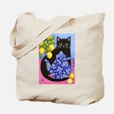 Black CAT Blue Calico Teapot 2-Sided Tote Bag