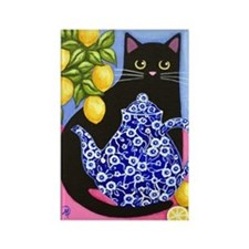 Black Cat Blue Calico Teapot Large Rect. Magnet