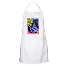 Black CAT Blue Calico Teapot & Lemons BBQ Apron