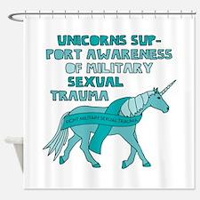 Unicorns Support Awareness Of Milit Shower Curtain