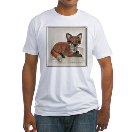 Fox Resting Design Fitted T-Shirt