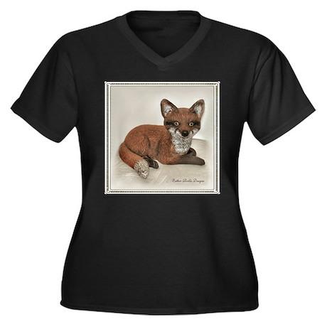 Fox Resting Design Women's Plus Size V-Neck Dark T