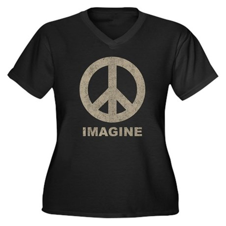 Vintage Imagine Peace Women's Plus Size V-Neck Dar