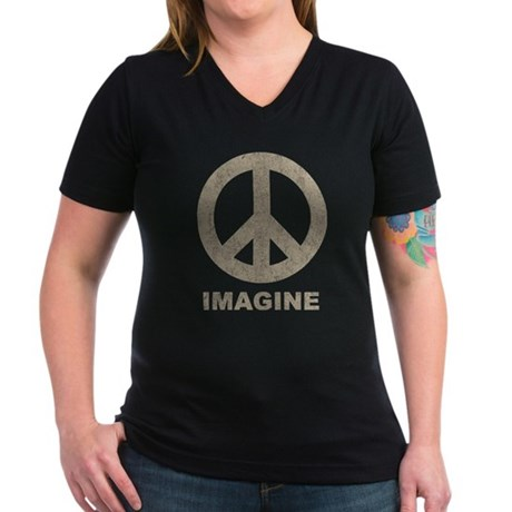 Vintage Imagine Peace Women's V-Neck Dark T-Shirt