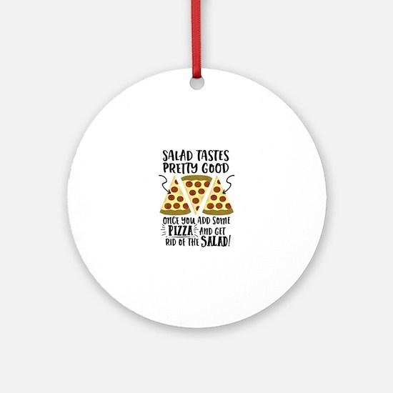 Pizza vs Salad Funny Round Ornament