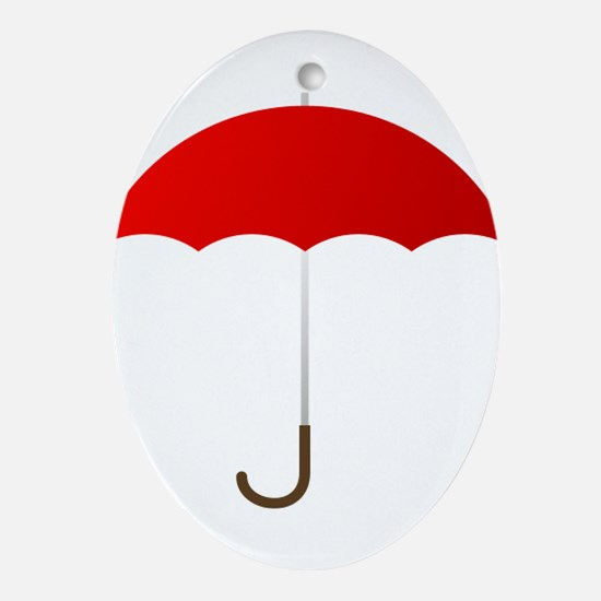 Red Umbrella Oval Ornament