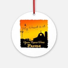 My Favorite Farm Round Ornament