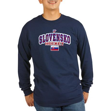 SK Slovakia Slovensko Hockey Long Sleeve Dark T-Sh