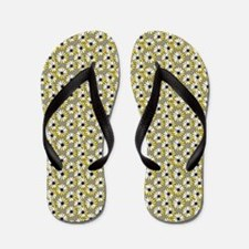 Black and Yellow Daisies on Gray Flip Flops