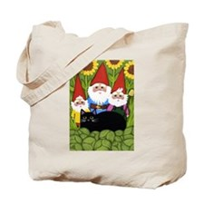 Garden Gnomes & Black Cat 2-Sided Tote Bag
