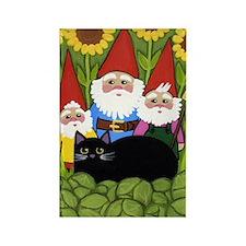 Garden Gnomes & Black Cat LARGE Rectangle Magnet
