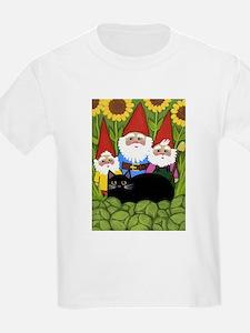 Garden Gnomes & Black Cat T-Shirt