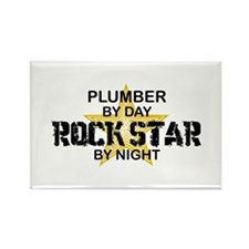 Plumber RockStar by Night Rectangle Magnet