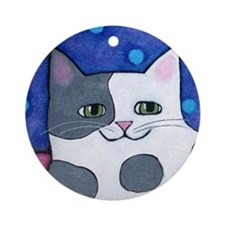 Gray and White Cow CAT Ornament (Round)
