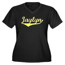 Jaylyn Vintage (Gold) Women's Plus Size V-Neck Dar