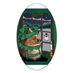 Cutest Christmas Dog Oval Sticker