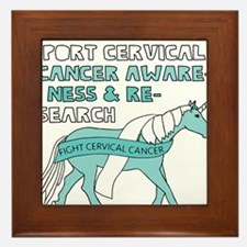 Unicorns Support Cervical Cancer Aware Framed Tile
