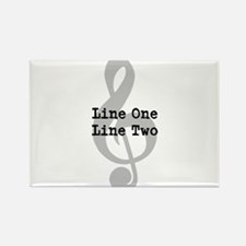 Treble Clef Two Line Custom Message Magnets