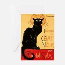 Famous black cat French Greeting Cards