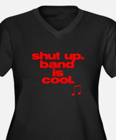 Band is Cool Women's Plus Size V-Neck Dark T-Shirt