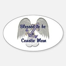 Blessed Coastie Mom Oval Decal