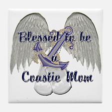 Blessed Coastie Mom Tile Coaster