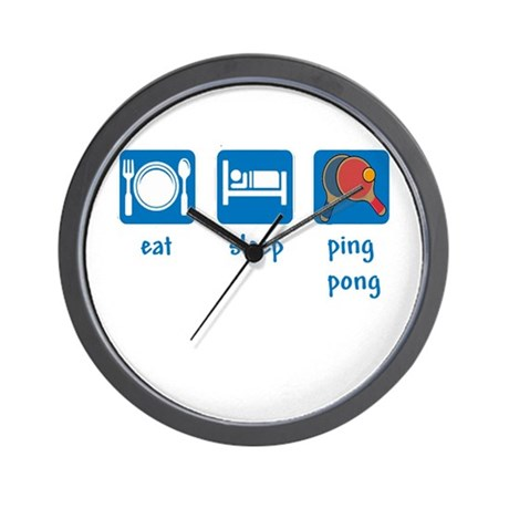 eat sleep ping pong Wall Clock