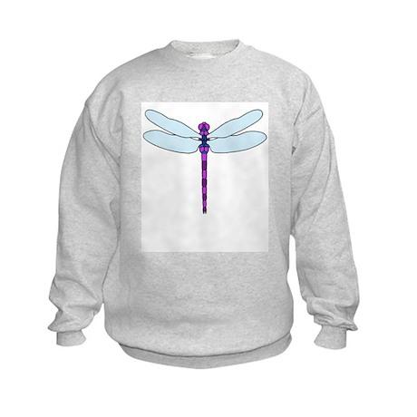 Dragonfly purple & blue Kids Sweatshirt