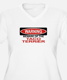 TACO TERRIER Womes Plus-Size V-Neck T-Shirt