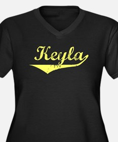 Keyla Vintage (Gold) Women's Plus Size V-Neck Dark