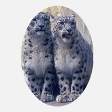 Snow Leopard twin cubs Oval Ornament