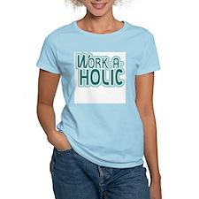 Work-a-holic Women's Pink T-Shirt