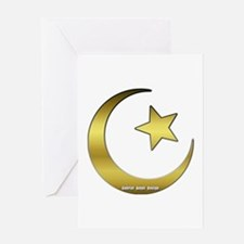 Gold Star and Crescent Greeting Card