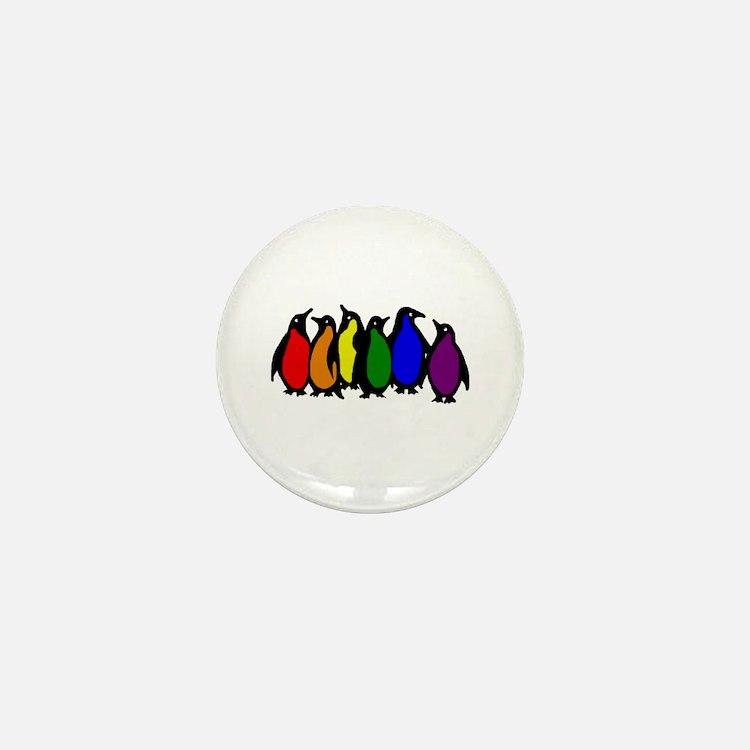 Rainbow Penguins Mini Button