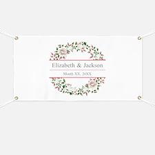 Floral Wreath Wedding Monogram Banner