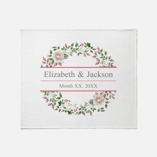Floral Wreath Wedding Monogram Throw Blanket