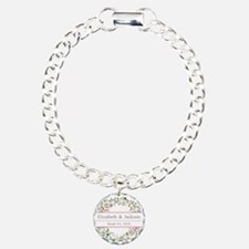 Floral Wreath Wedding Monogram Bracelet