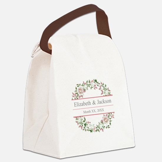 Floral Wreath Wedding Monogram Canvas Lunch Bag