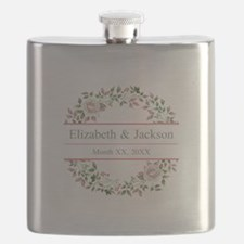 Floral Wreath Wedding Monogram Flask