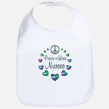 Peace Love Nurses Cotton Baby Bib