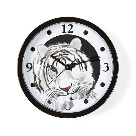 White Bengal Tiger Wall Clock