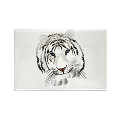 White Bengal Tiger Rectangle Magnet (10 pack)
